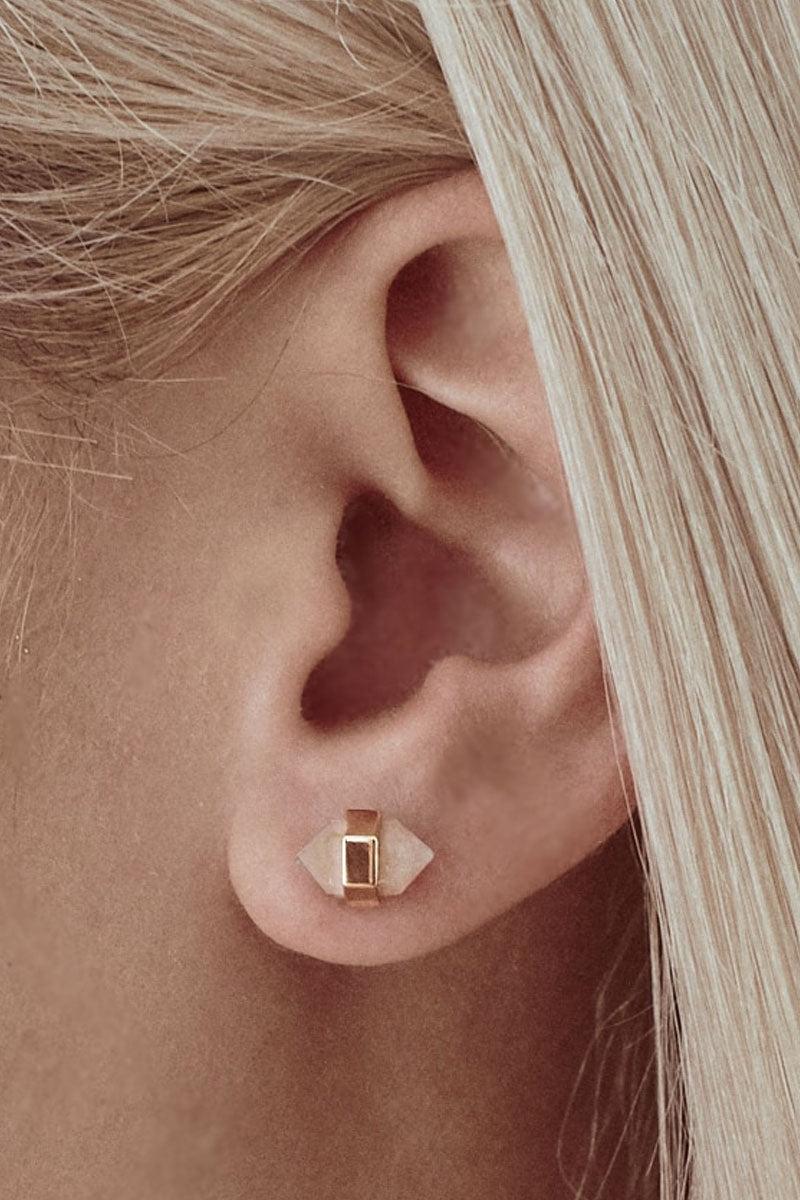 ELIZABETH STONE Gemstone Point Stud Earrings - White Cat's Eye Jewelry | White Cat's Eye| ELIZABETH STONE Gemstone Point Stud Earrings