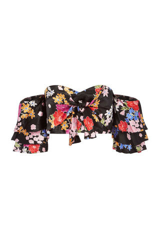 BEC & BRIDGE Cha Cha Off Shoulder Top - Bouquet Print Top | Bouquet Print| Bec & Bridge Cha Cha Off Shoulder Top - Bouquet Print. Features:  Exposed metal zipper at center back for entry Detached cold shoulder ruffle short sleeves Front tie feature 100% Shine viscose Made in Australia Front View