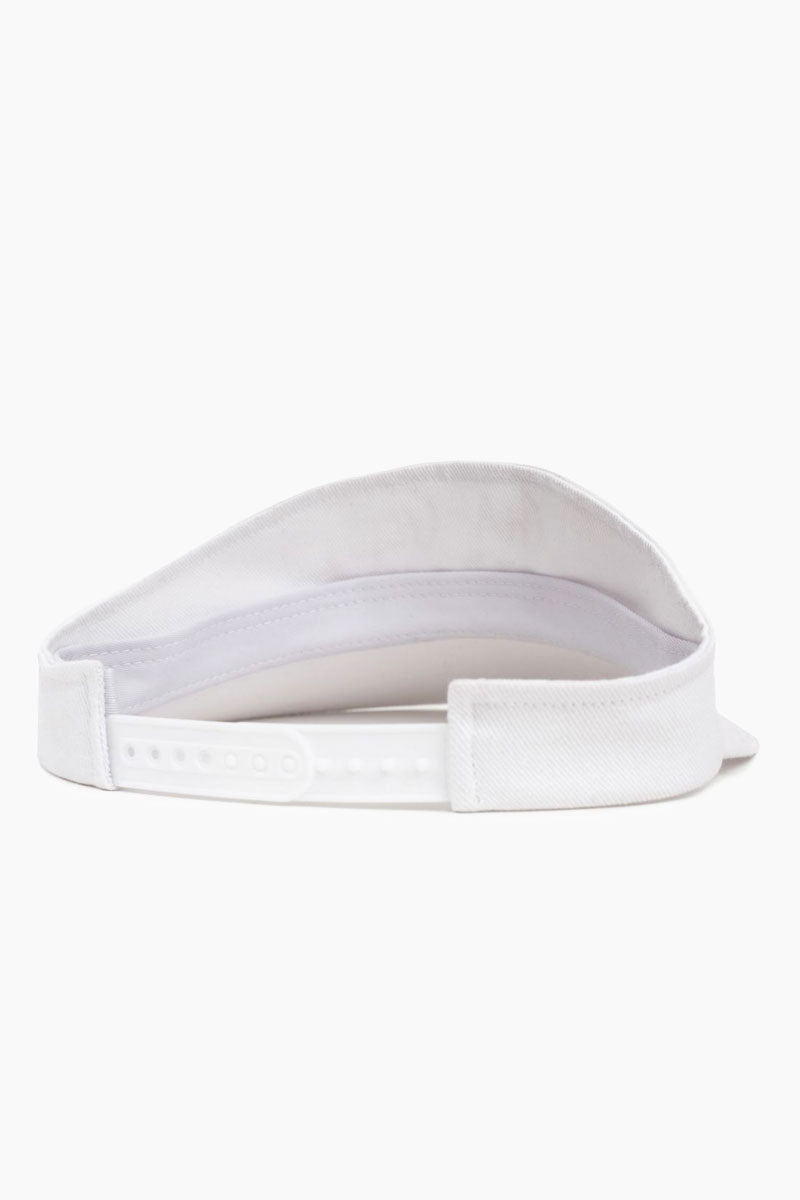 "BRIXTON Cha Cha Graphic Snapback Cotton Visor - White Hat | White| Brixton Cha Cha Visor - White  100% Cotton Classic Sport Visor Design ""Cha-Cha Club"" Printed Detail - Front Plastic Snapback Adjuster Cotton Twill Sweatband Back View"