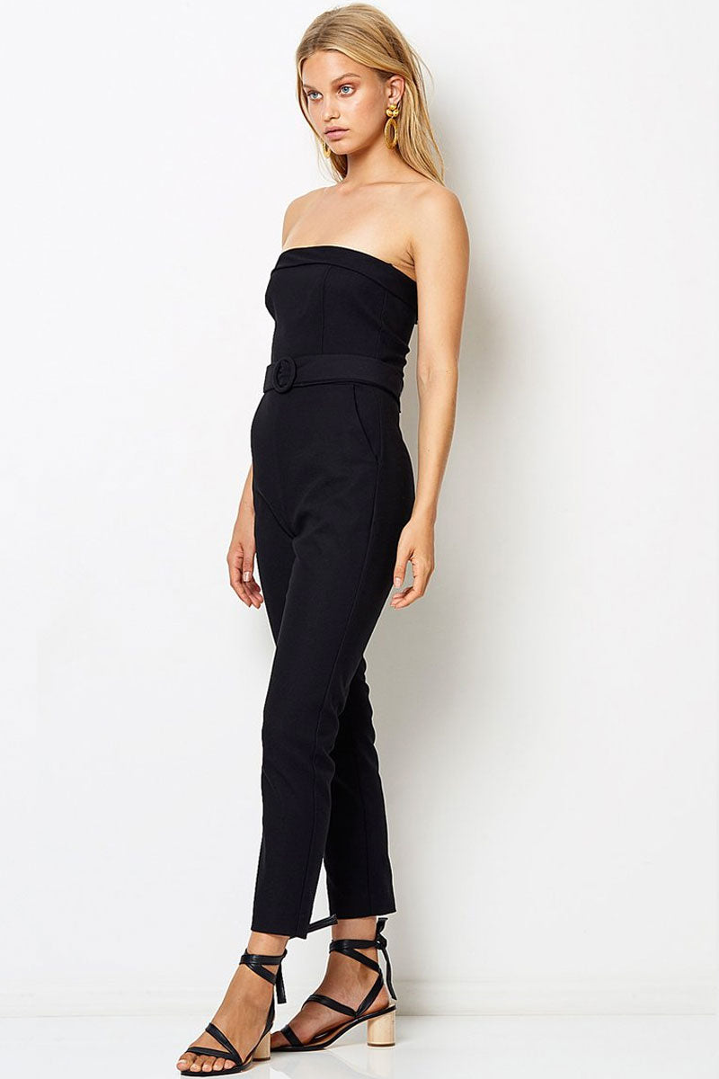 BEC & BRIDGE Chico Strapless Jumpsuit - Black Jumpsuit | Black| Bec & Bridge Chico Strapless Jumpsuit - Black. Features:  Silk fold over the edge at neckline Pockets at side Tailored, skinny leg Invisible zipper at center back for entry 31% Viscose 64% Polyester 5% Elastane Front View