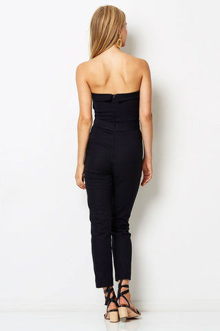 BEC & BRIDGE Chico Strapless Jumpsuit - Black Jumpsuit | Black| Bec & Bridge Chico Strapless Jumpsuit - Black. Features:  Silk fold over the edge at neckline Pockets at side Tailored, skinny leg Invisible zipper at center back for entry 31% Viscose 64% Polyester 5% Elastane Back View