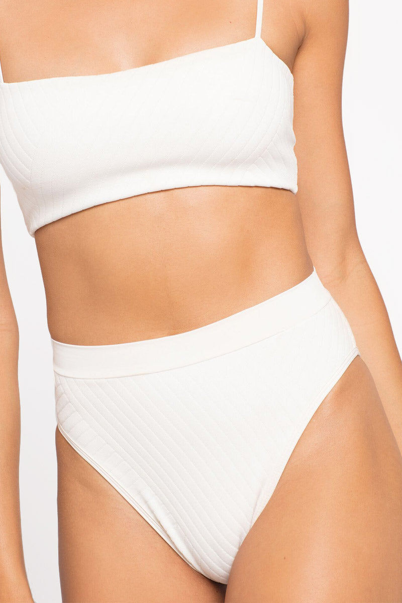 L SPACE Frenchi High Waist Bikini Bottom - Cream White Bikini Bottom   Cream White  L Space Frenchi High Waist Bikini Bottom - Cream White High-waisted high-cut ribbed cheeky coverage Front View