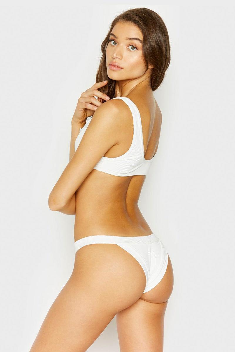 fc8fcdb191 ... FRANKIES BIKINIS Cole Ribbed Peek-A-Boo Cut Out Bikini Top - White  Bikini