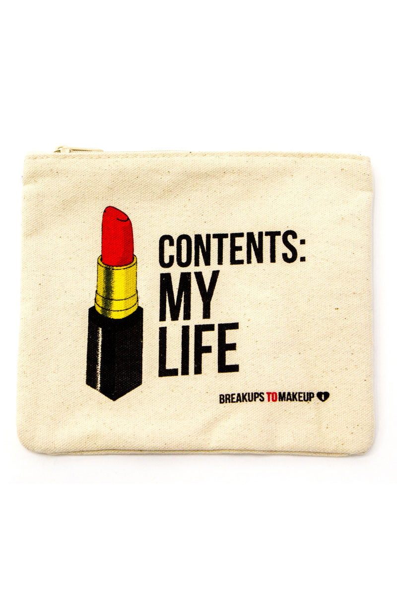 """BREAKUPS TO MAKEUPS Contents: My Life Makeup Clutch - Tan Bag 
