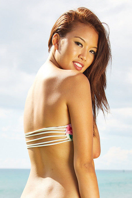 KAIMANA Roses String Bandeau Top Bikini Top | Cream Roses|