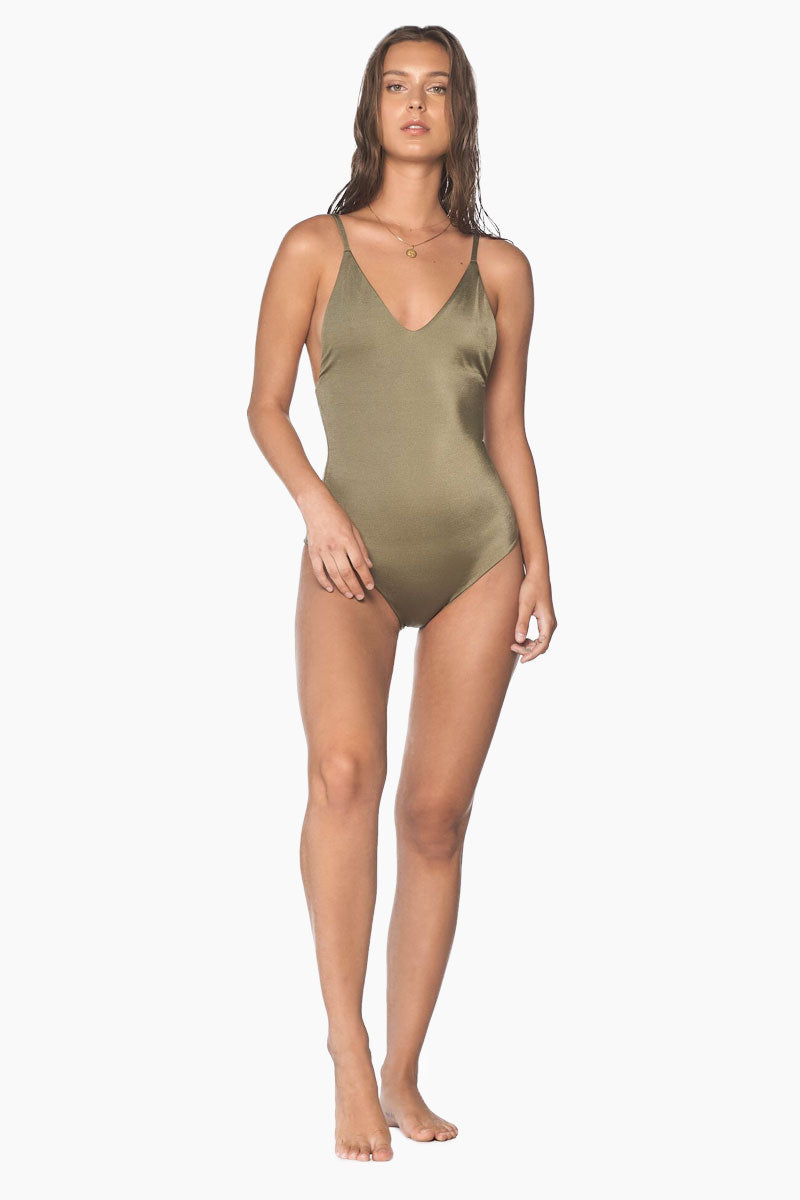 MALAI Crossed Back One Piece Swimsuit - Sparkly Green One Piece | Sparkly Green| Malai Crossed Back One Piece Swimsuit - Sparkly Green. Features:  One piece swimsuit Adjustable spaghetti straps Plunging neckline Removable paddings Open back with strappy detail Cheeky bottom Front View