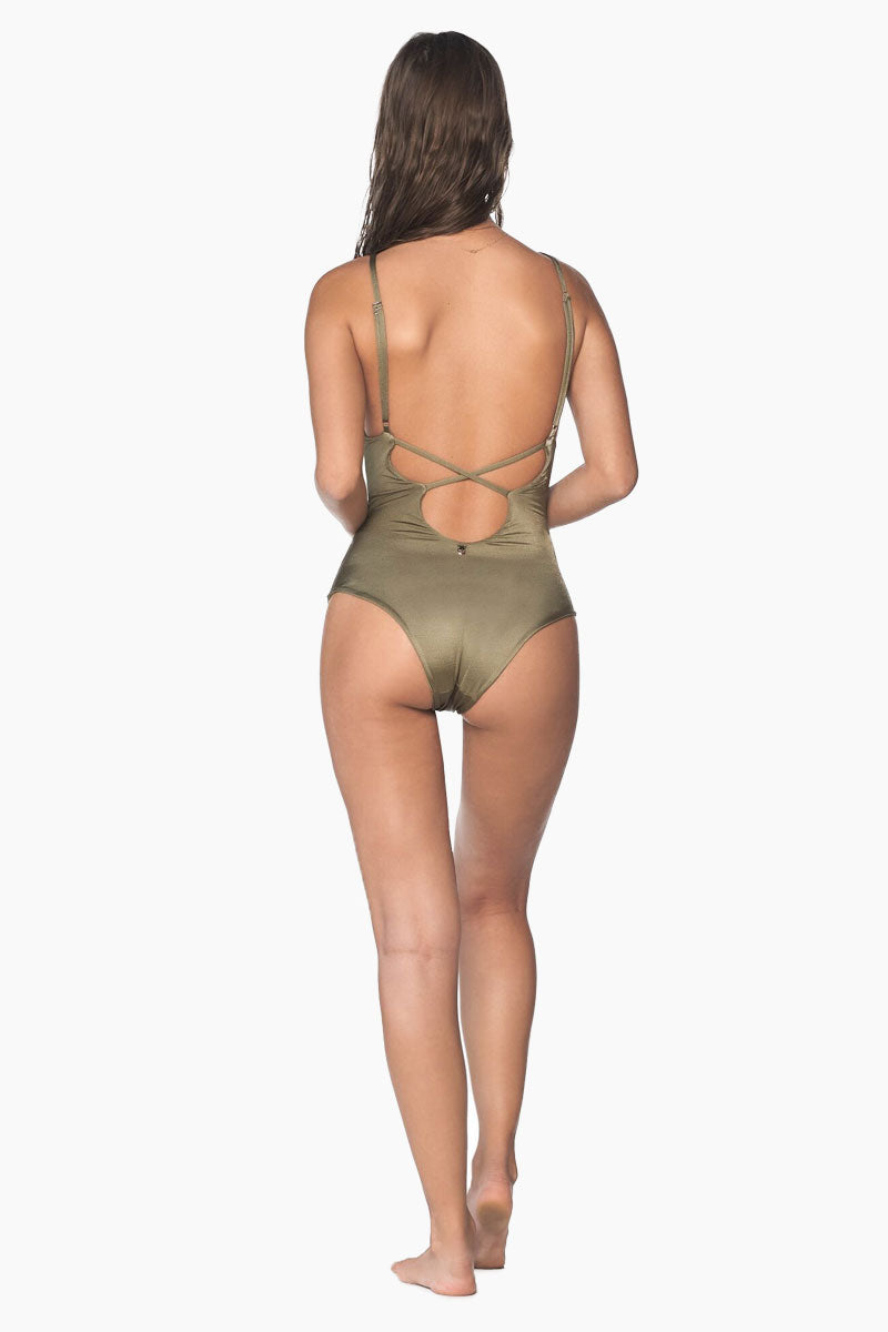 MALAI Crossed Back One Piece Swimsuit - Sparkly Green One Piece | Sparkly Green| Malai Crossed Back One Piece Swimsuit - Sparkly Green. Features:  One piece swimsuit Adjustable spaghetti straps Plunging neckline Removable paddings Open back with strappy detail Cheeky bottom Back View