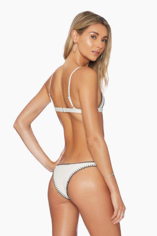 ELLEJAY Daniela Fitted Brazilian Bikini Bottom - Ivory Texture Bikini Bottom | Ivory Texture| Ellejay Daniela Bikini Bottom Ivory brazilian bikini bottom with black whipstitch border. High waist and high cut to elongate legs.