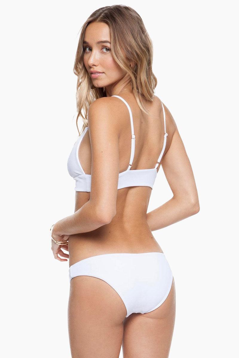 TORI PRAVER Daniela Triangle Bralette Bikini Top - Ceramic White Bikini Top | Ceramic White| Tori Praver Daniela Triangle Bralette Bikini Top - Ceramic White Bikini Top in white ribbed textured fabric Back View