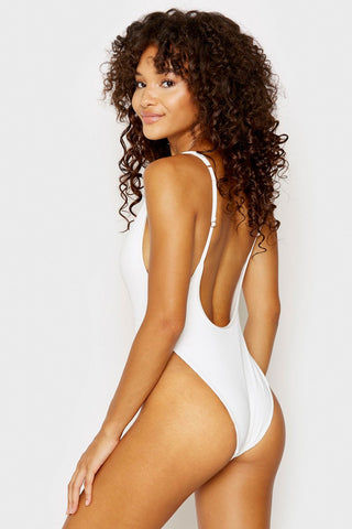 FRANKIES BIKINIS Daphne Ribbed Button Up Front One Piece Swimsuit - White One Piece | White| Frankies Bikinis Daphne Ribbed Button Up Front One Piece Swimsuit - White  Scoop neckline Front button detail Adjustable shoulder straps High cut leg Scoop back Cheeky coverage Ribbed fabric Back View