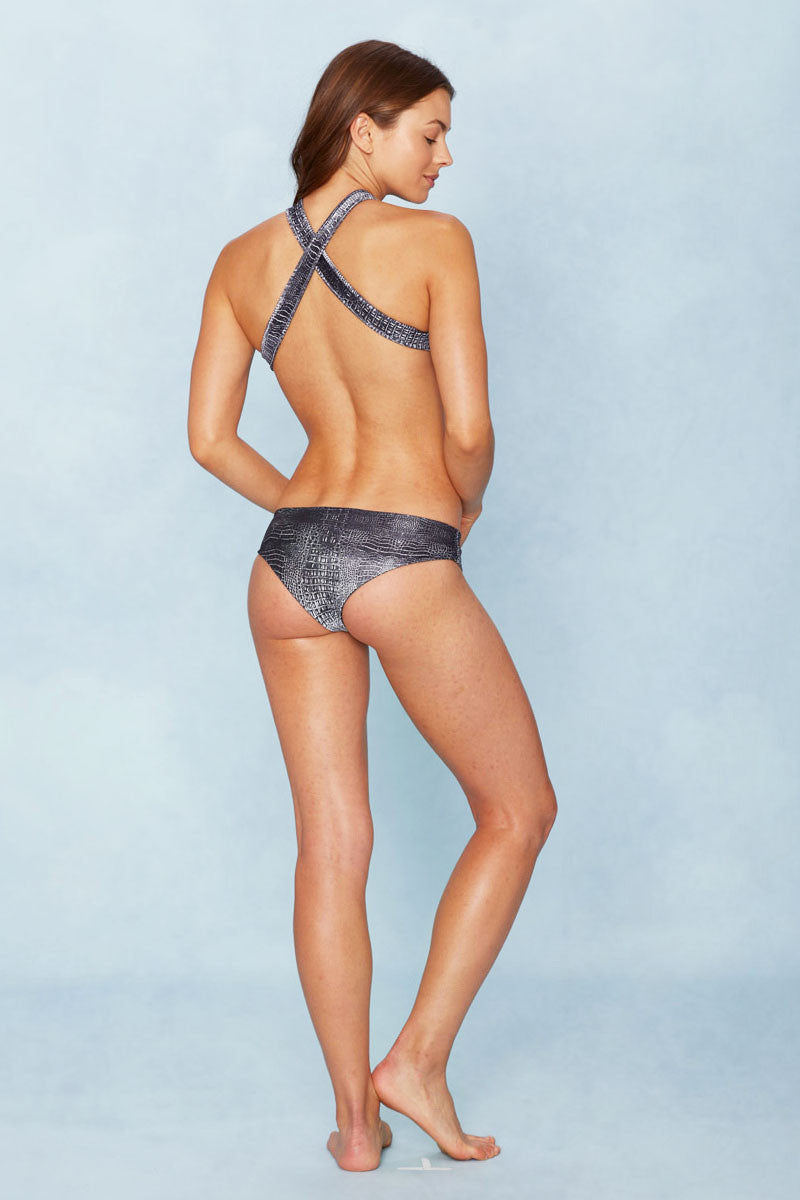 INDAH Sabine Top Bikini Top | Black Crocodile|