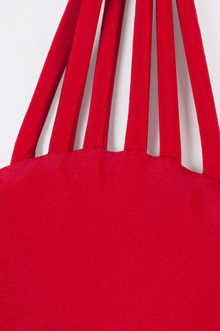 BETTINIS Strappy Triangle Bikini Top - Valentine Red Bikini Top | Valentine Red| Close Up Fabric View of Bettinis Strappy Triangle Bikini Top in Valentine Red with adjustable triangles and tie closure in back.  83% nylon, 17% spandex. Hand wash with care