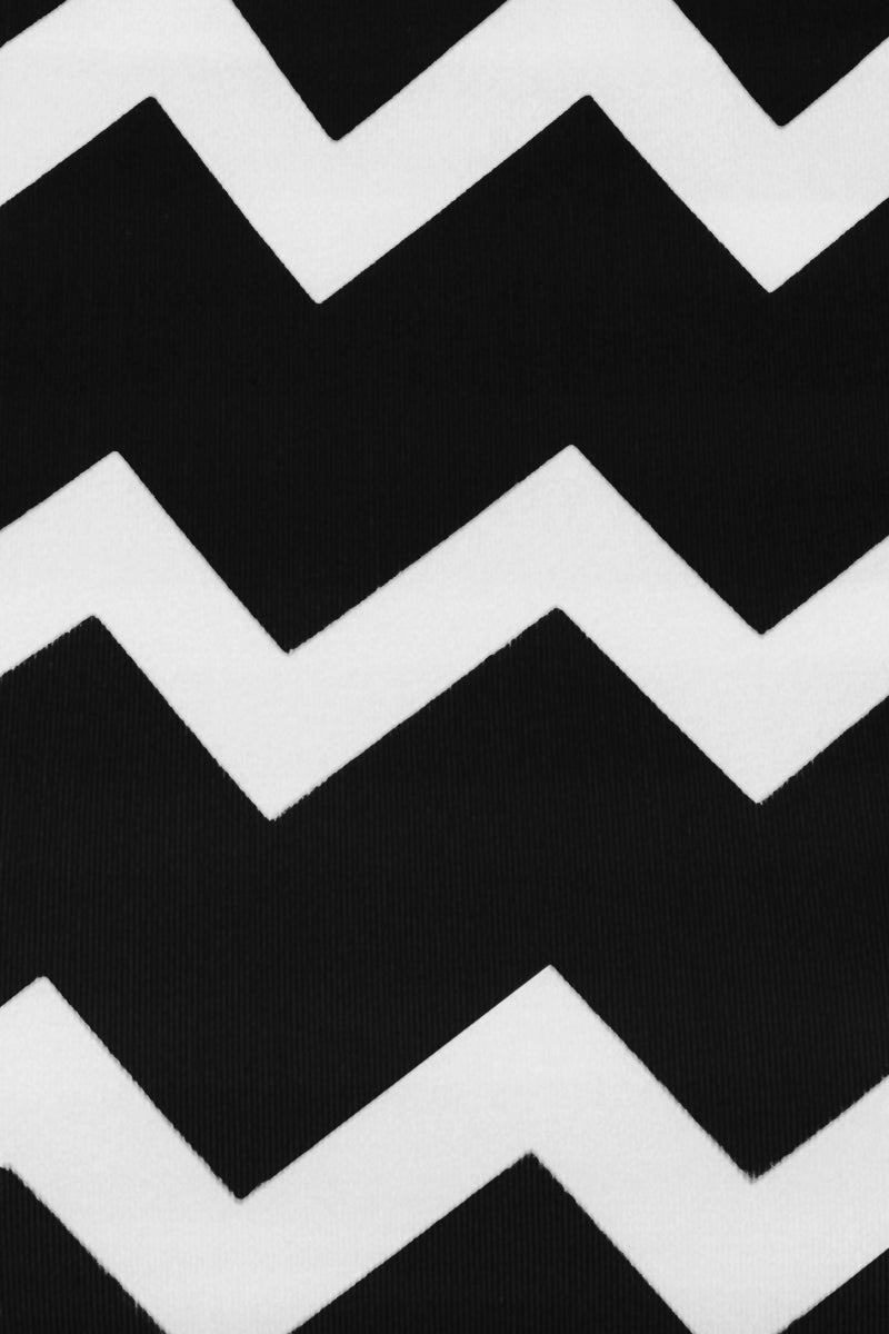 STELLA MCCARTNEY Zig-Zag Drawstring Tie Side Bikini Bottom - Black/White Chevron Print Bikini Bottom | Black/Cream Chevron Print| Stella McCartney Drawstring Tie Side Bikini Bottom - Black/Cream Chevron Print  Low rise  Tie side detail  Moderate coverage  Front View