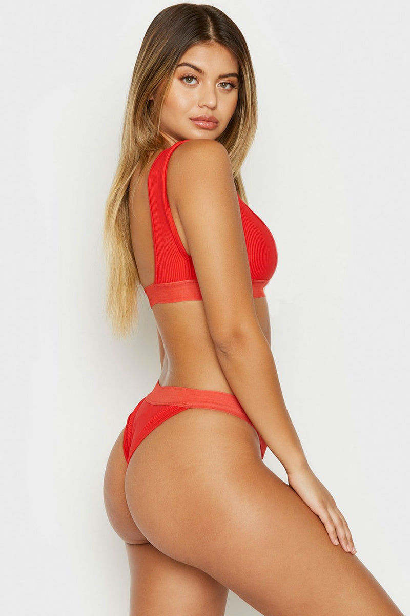 FRANKIES BIKINIS Drew Ribbed Elastic Band Bikini Top - Red Bikini Top | Red | Frankies Bikinis Drew Ribbed Elastic Band Bikini Top - Red Sports bra style scoop neck ribbed wide elastic underbust band and fixed wide shoulder straps  Side View