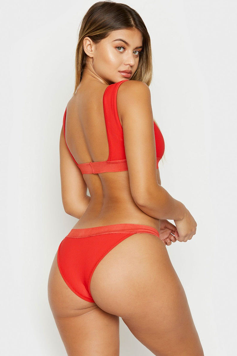 FRANKIES BIKINIS Drew Ribbed Elastic Band Bikini Top - Red Bikini Top | Red | Frankies Bikinis Drew Ribbed Elastic Band Bikini Top - Red Sports bra style scoop neck ribbed wide elastic underbust band and fixed wide shoulder straps  Back View