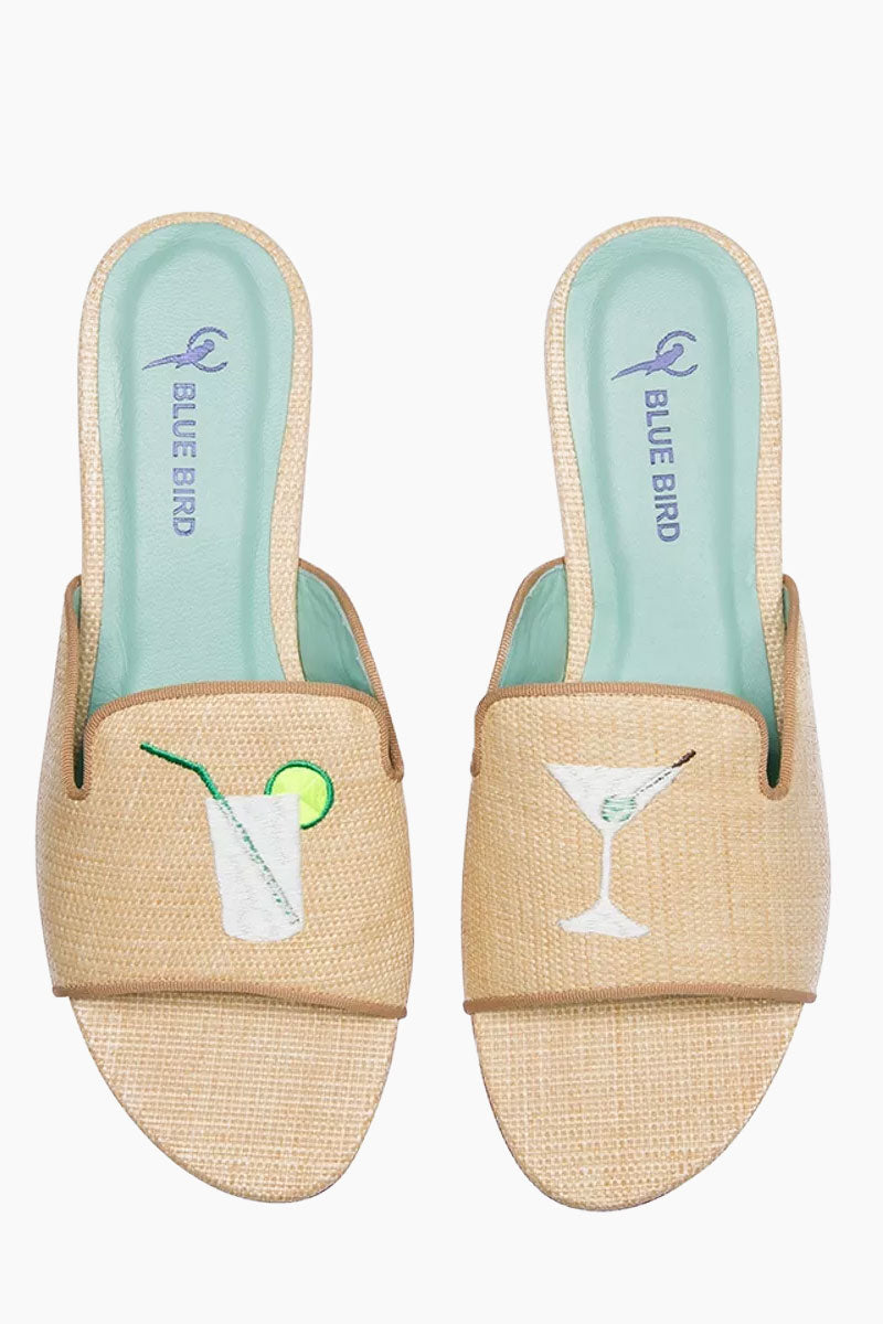 BLUE BIRD Drinks Shower Flats - Creme Sandals | Creme| Blue Bird Drinks Shower Flats - Creme Fun drinks embroidery linen flats Produced in Brazil with Italian assembly process Leather lining  Guarantee the maximum comfort of the insole 100% leather sole Heel- 0.27 inch The Blue Bird's are produced with natural leather, from the lining to the sole, guaranteeing its durability. Front View