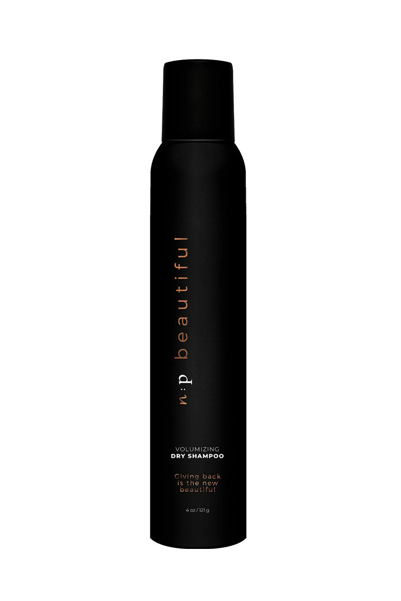 N:P BEAUTIFUL Volumizing Dry Shampoo Beauty | | N:P Beautiful Volumizing Dry Shampoo This dry shampoo keeps your hair looking fresh without having to re-wash it Shake it up, spray it on. Blow it, curl it, tousle it with fingers. Sulfate Free Paraben Free No animal testing Size 4 oz/ 121 g Front View
