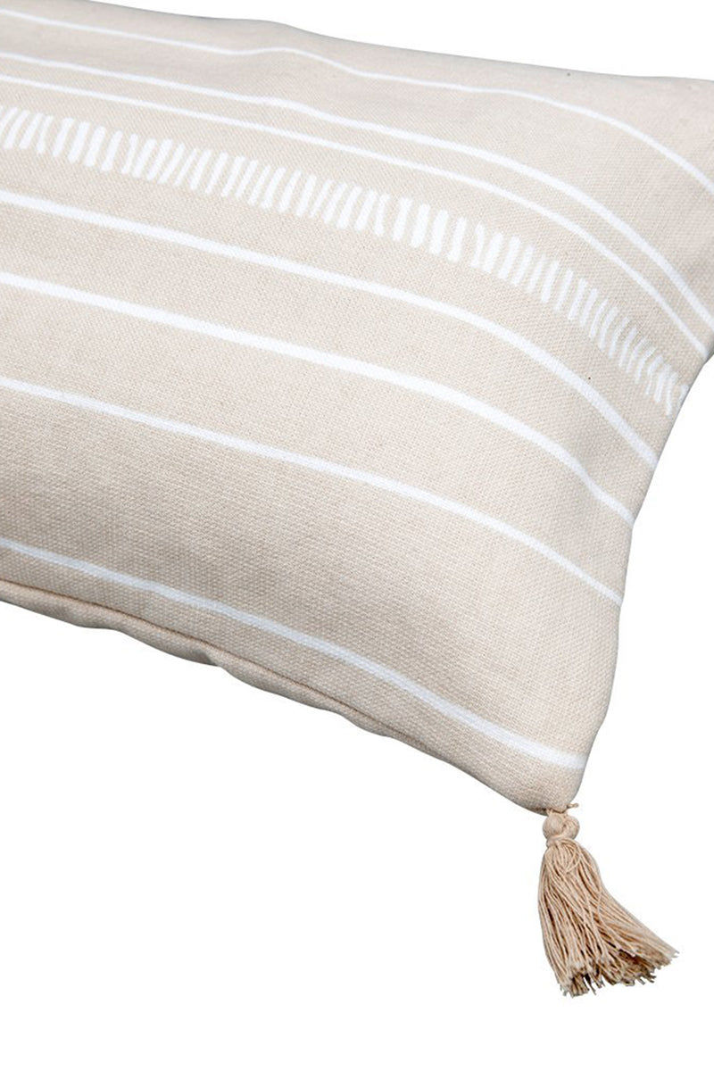 THE BEACH PEOPLE Dune Beach Cushion - Beige Stripe Print Pillow | Beige Stripe Print| The Beach People Dune Beach Cushion - Beige Stripe Print Soft beige inflatable beach cushion in a contrasting bright white stripe print. 100% soft cotton fabrication is easy to clean and keeps you comfortable on the beach. The inflatable insert  Front View