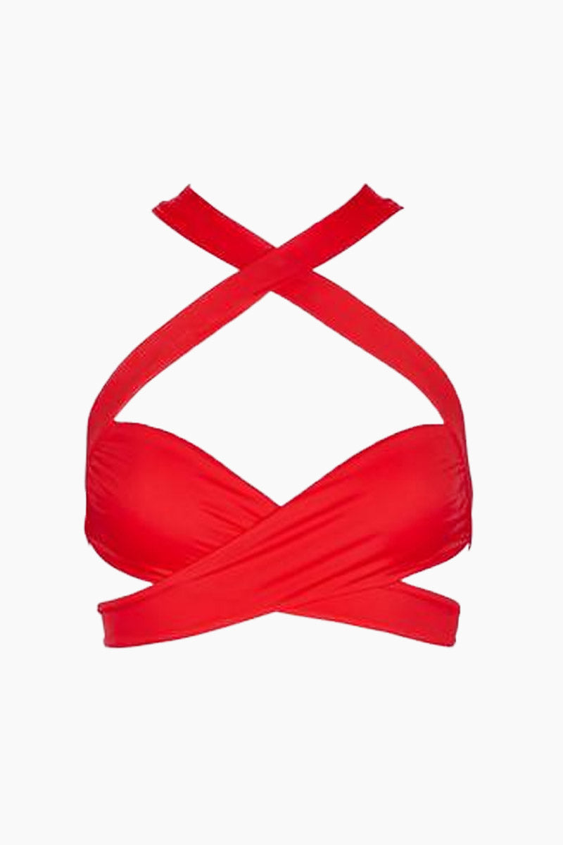MONICA HANSEN BEACHWEAR Endless Summer Cross Over Bikini Top - Red Bikini Top | Red| Monica Hansen Endless Summer Cross Over Bikini Top - Red. Features:  Straps cross in front over the chest and under the chest Straps also cross in back over the shoulders double fabric on the inside instead of lining Italian fabric 85% Nylon 15% Elastane Manufactured in Italy Hand wash cold.  Dry Flat Front View