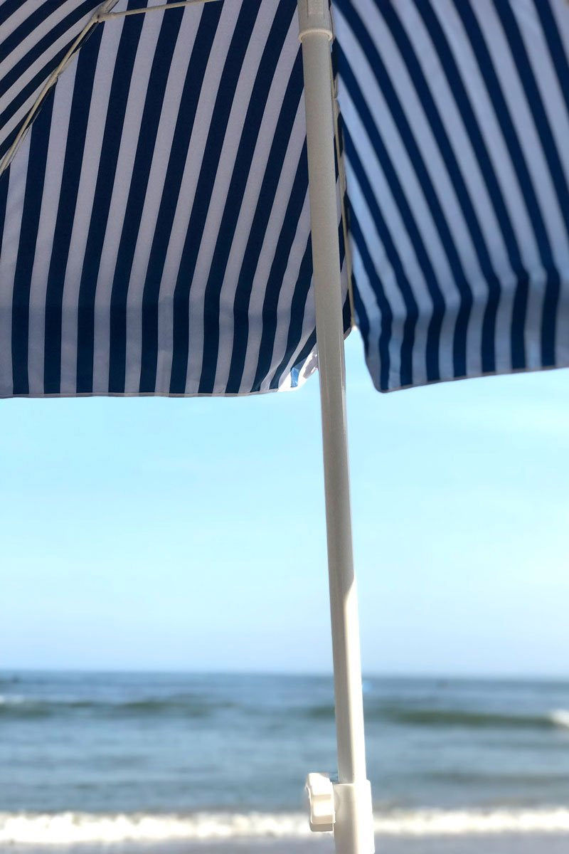 BUSINESS AND PLEASURE CO Family Beach Umbrella - Stripe Navy Pool Accessories | Stripe Navy|Stripe Navy| Business And Pleasure Co Familly Beach Umbrella - Printed poly/cotton canvas with UV & Water Resistant treatment.