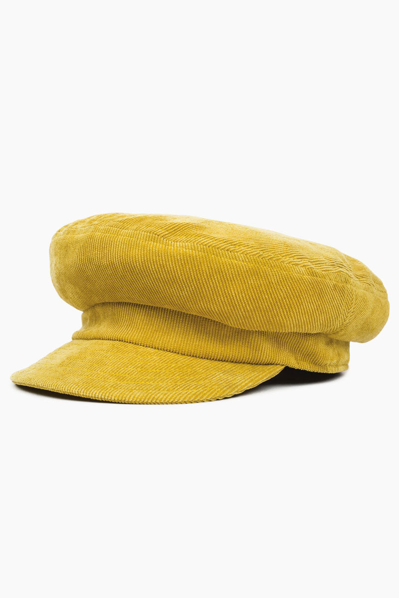 BRIXTON Fiddler Unstructured Corduroy Cadet Cap - Yellow Hat | Yellow| Brixton Fiddler Cap - Yellow Unstructured cut-and-sew fisherman cap 100% Polyester  Front View