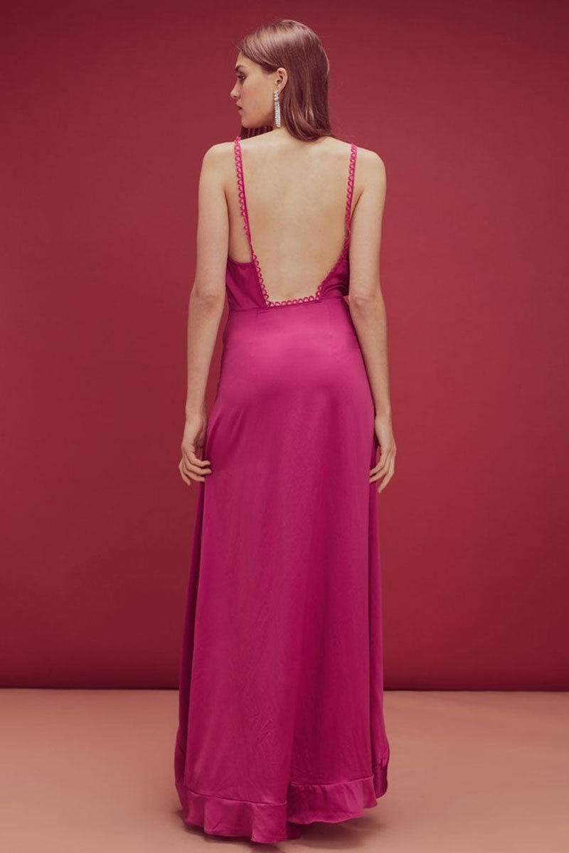 FOR LOVE AND LEMONS Isabella Ruffled Asymmetric Maxi Dress - Fuchsia Pink Dress | Fuchsia Pink| For Love and Lemons Isabella Ruffled Asymmetric Maxi Dress - Fuchsia Pink. Features:  Plunging Front and Back Neckline  High Thigh Slit Cascading Front Ruffle Loop Trimming Invisible Zipper Fitted Self: 95% Polyester/5% Spandex Back View