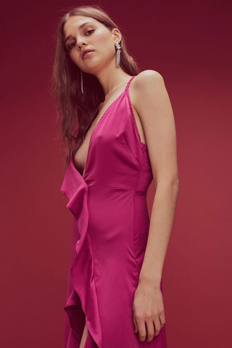 FOR LOVE AND LEMONS Isabella Ruffled Asymmetric Maxi Dress - Fuchsia Pink Dress | Fuchsia Pink| For Love and Lemons Isabella Ruffled Asymmetric Maxi Dress - Fuchsia Pink. Features:  Plunging Front and Back Neckline  High Thigh Slit Cascading Front Ruffle Loop Trimming Invisible Zipper Fitted Self: 95% Polyester/5% Spandex Side View