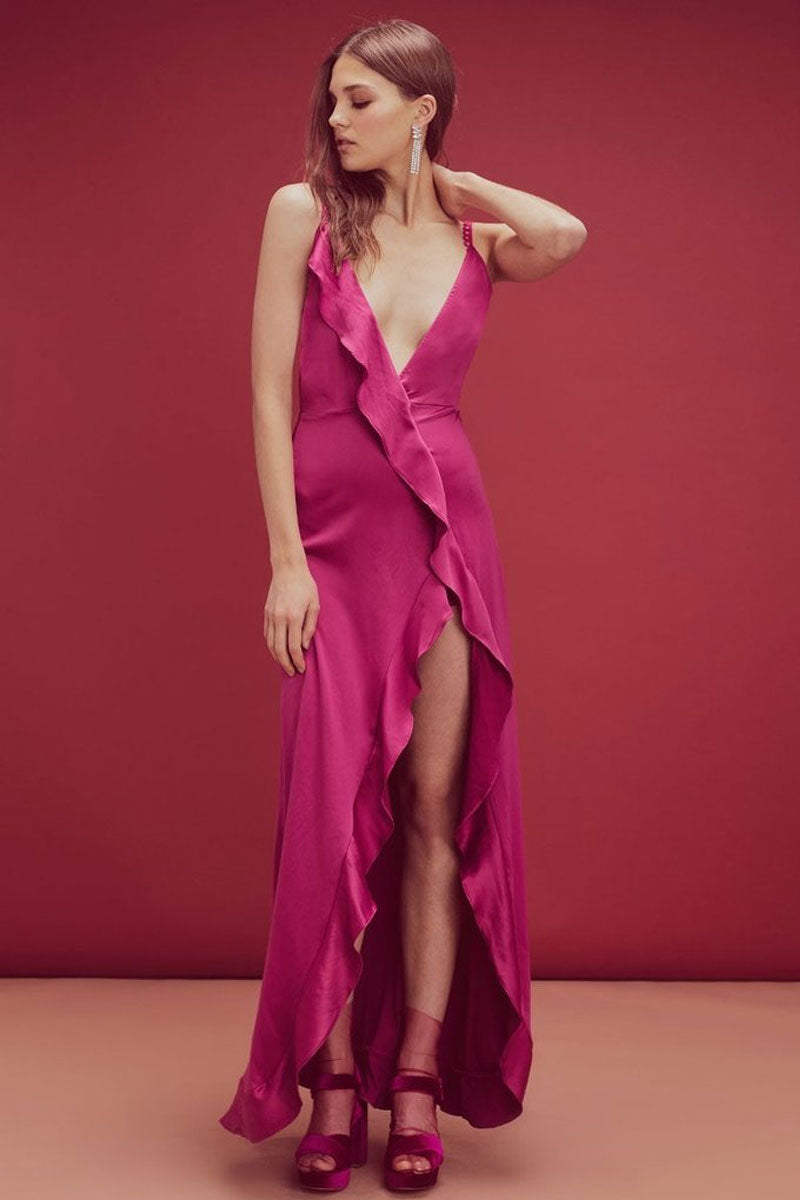 FOR LOVE AND LEMONS Isabella Ruffled Asymmetric Maxi Dress - Fuchsia Pink Dress | Fuchsia Pink| For Love and Lemons Isabella Ruffled Asymmetric Maxi Dress - Fuchsia Pink. Features:  Plunging Front and Back Neckline  High Thigh Slit Cascading Front Ruffle Loop Trimming Invisible Zipper Fitted Self: 95% Polyester/5% Spandex Front View