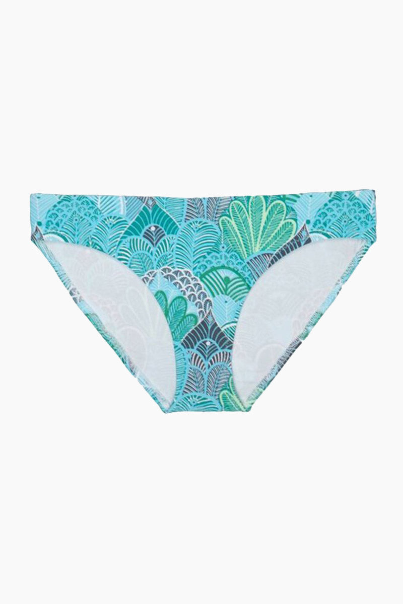 HELEN JON Classic Hipster Bikini Bottom - Dominica Print Bikini Bottom | Dominica Print| Helen Jon Classic Hipster Bikini Bottom - Dominica Print Mid-rise hipster bikini bottom in aqua blue print. Fully lined stretch-fit fabric ensures opacity and provides you with an ultra-smooth, comfortable fit. Full rear cut shows off your curves while providing moderate coverage.  Front View