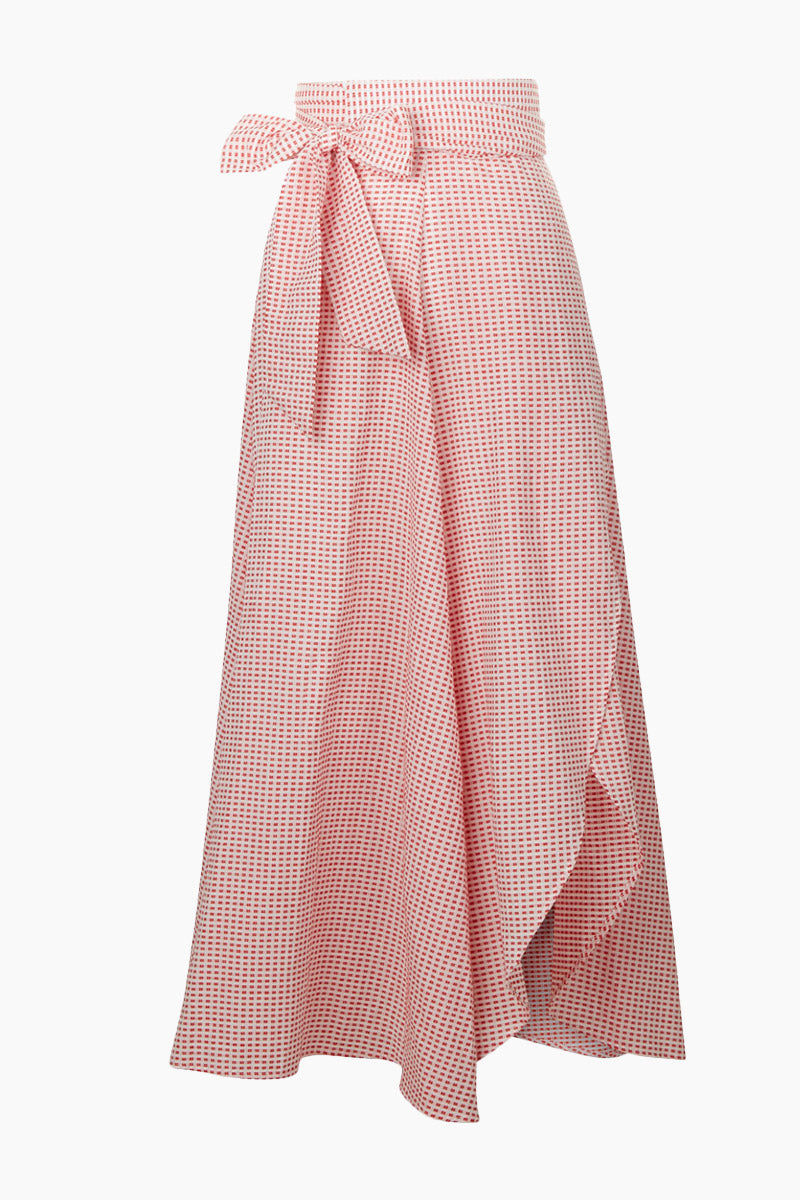 EVARAE Milu Wrap Skirt - Red Texture Skirt | Red Texture| Evarae Milu Wrap Skirt - Red Texture. Features:  High waisted skirt Textured material Bow detail Front View