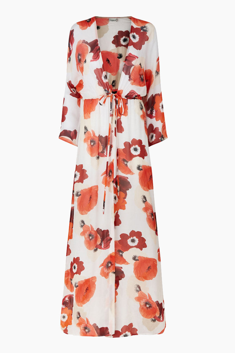 EVARAE Gela Open Kimono - Red Poppy Print Dress | Red Poppy Print| Evarae Gela Open Kimono - Red Poppy Print. Features:  100% Silk Georgette Slightly sheer Can be worn open or pulled in by adjustable cords at the waist Front View