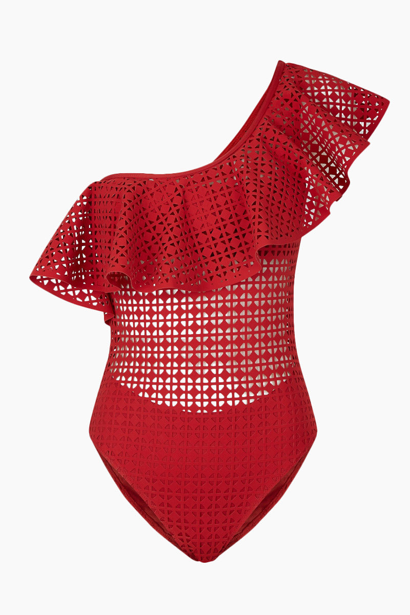 EVARAE Irene One Shoulder Laser-Cut One Piece Swimsuit - Red Matte One Piece | Red Matte| Evarae Irene One Shoulder Laser One Piece Swimsuit - Red Matte. Features:  One shoulder one piece Ruffle details Cutout designs Cheeky coverage Front View