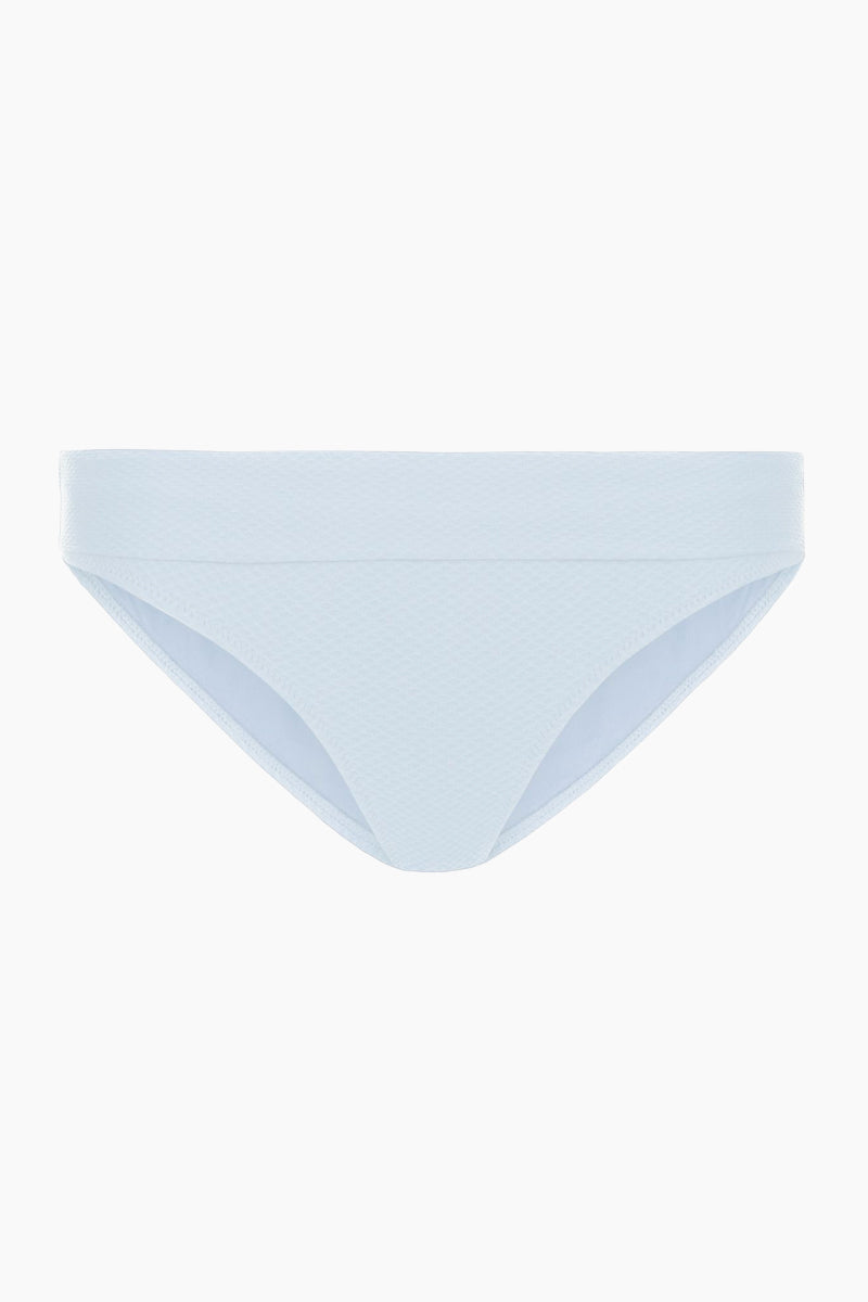 HEIDI KLEIN Fold Over Bikini Bottom - Baby Blue Bikini Bottom   Baby Blue  heidi klein Fold Over Bikini Bottom - Baby Blue. Features:  The bottom is cut to be Mid Rise, Mid Coverage. Fully elasticated along legs for a snug fit and to help stay in place when wearer is swimming. Elastic is fully enclosed for a soft, comfortable finish. Fold over detail is stitched in place at the side seam to ensure the correct style shape is maintained when worn – won't need to be adjusted continuously. Front View