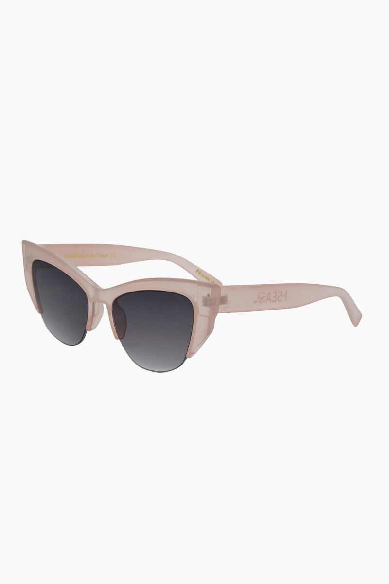 I-SEA Frankie Sunglasses - Milky Pink Sunglasses | Milky Pink| I-Sea Frankie Sunglasses - Milky Pink Cat-Eyed Under Cut Sunglasses Frame Color: Milky Pink Lens Color: Smoke   100% UV / UVB Protection Side View