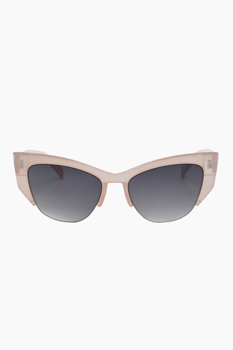 I-SEA Frankie Sunglasses - Milky Pink Sunglasses | Milky Pink| I-Sea Frankie Sunglasses - Milky Pink Cat-Eyed Under Cut Sunglasses Frame Color: Milky Pink Lens Color: Smoke   100% UV / UVB Protection Front View