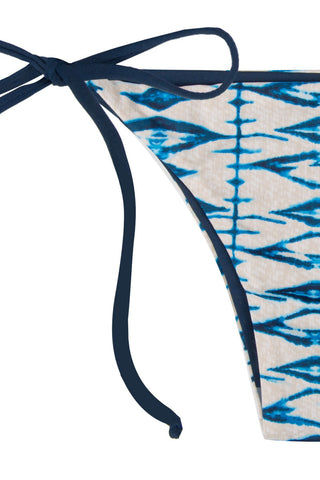 FRANKIES BIKINIS Marley Tie Side Cheeky Bikini Bottom - Shibori Blue Print Bikini Bottom | Shibori Blue Print| Frankies Marley Tie Side Cheeky Bikini Bottom - Shibori Blue Print Seamless bottom  Ties at sides for adjustable fit Cheeky coverage 79% Nylon, 21% Spandex Front View
