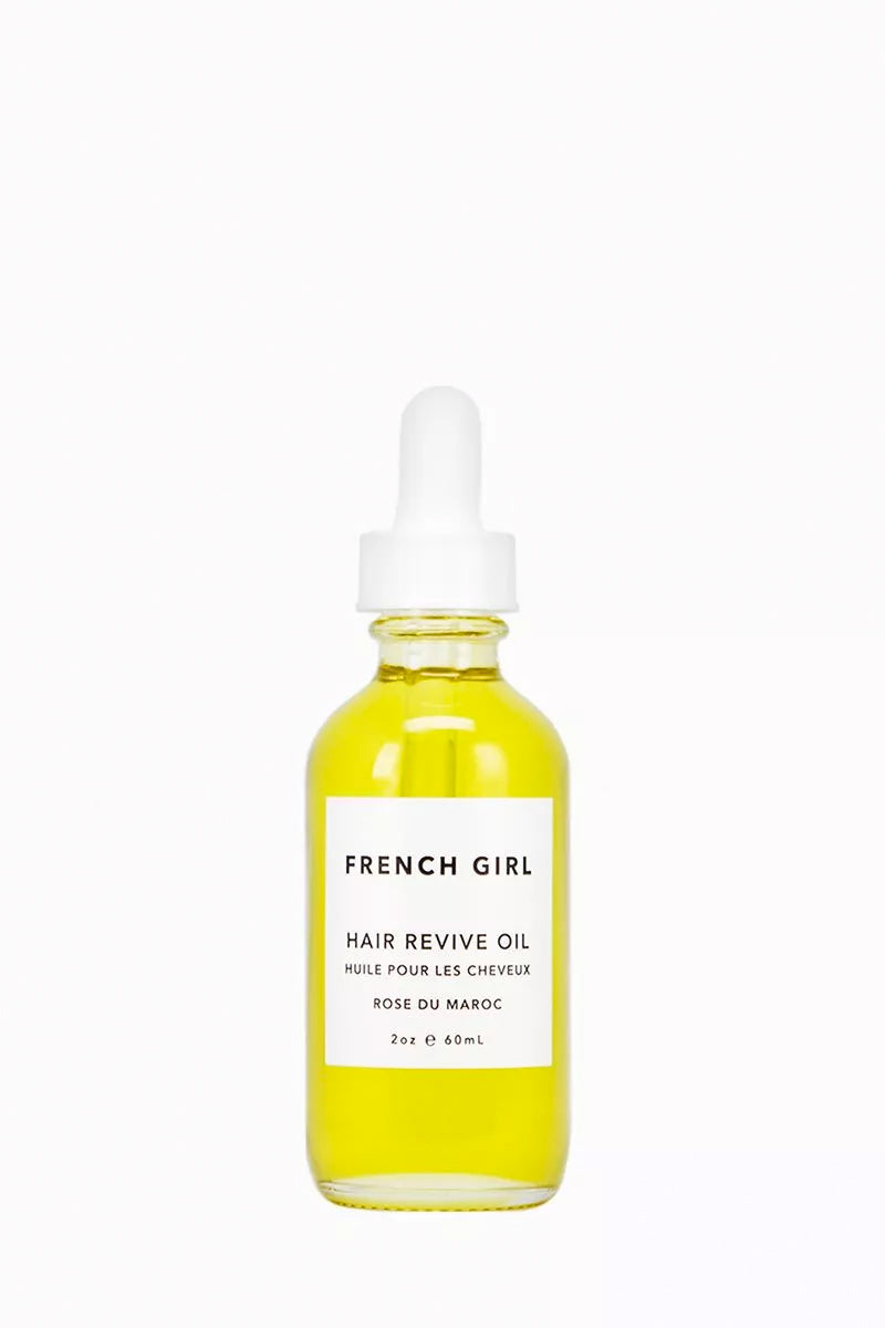 FRENCH GIRL ORGANICS Hair Revive Oil - Rose Du Maroc - 2 oz Beauty | Rose Du Maroc| French Girl Organics Hair Revive Oil - Rose Du Maroc Argan oil sourced from North Africa - rich in fatty acids that are essential for smooth, healthy hair. Tamanu, Hemp, and Rose Hip oils - aid  in conditioning the scalp and encouraging growth. Rosemary and Rose Geranium oils - add a subtle fragrance and repair damaged hair. Front View