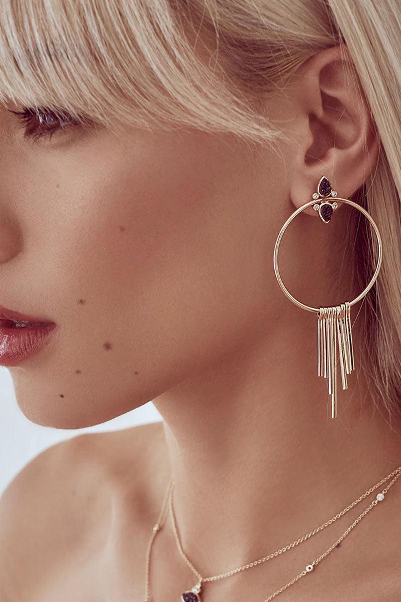 ELIZABETH STONE Gemstone Teardrop Fringe Hoop Earrings - Black Druzy Jewelry   Black Druzy  ELIZABETH STONE Gemstone Tear Drop Fringe Hoops