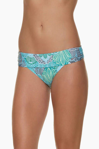 HELEN JON Fold Over Hispter Bikini Bottom - Dominica Print Bikini Bottom | Dominica Print| Helen Jon Fold Over Hispter Bikini Bottom - Dominica Print Mid-rise fold-over hipster moderate bikini bottom. Front View