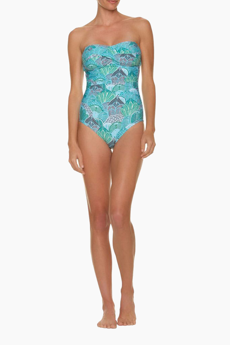HELEN JON Twist Bandeau One Piece Swimsuit - Dominica Print One Piece | Dominica Print| Helen Jon Twist Bandeau One Piece Swimsuit - Dominica Print  Twist Bandeau Style One Piece Sweetheart Neckline Removable Halter Straps  Sewn-In Soft Molded Cups Thick Back Tie Closure Ruching Along The Sides Moderate-Full Coverage 82% Tactel / 18% Spandex Front View