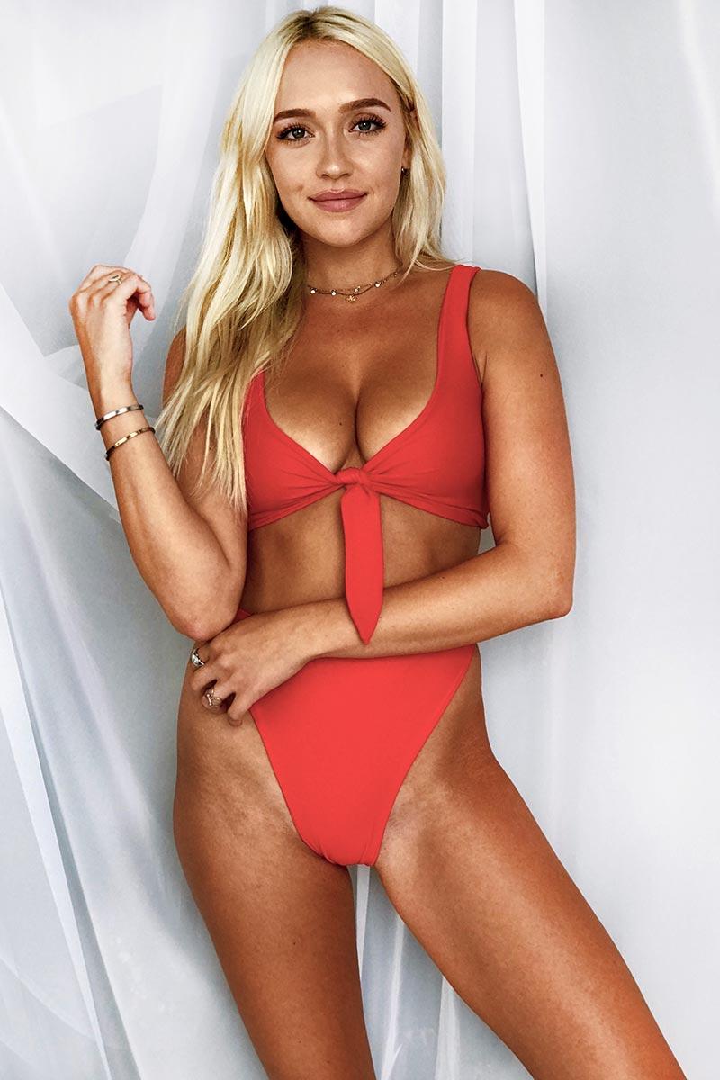 LEE + LANI 2019 Reversible Tie Front Bikini Top - Red/Navy Stripe Bikini Top | Red/Navy Stripe|Lee + Lani Reversible Tie Front Bikini Top -