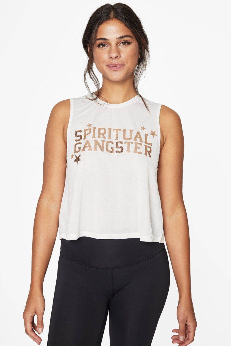 """SPIRITUAL GANGSTER Active Crop Top - Stardust Gold & White Top 