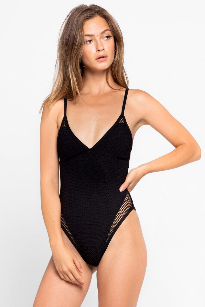 b595226ac6675 L SPACE Halle Mesh High Cut One Piece Swimsuit - Black One Piece | Black|  ...