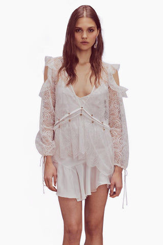 FOR LOVE AND LEMONS Sabina Layered Lace Long Sleeve Mini Dress - White Dress | White| For Love And Lemons Sabina Layered Lace Long Sleeve Mini Dress - White Features:  Sweetheart neckline Sheer Lace sleeves Shoulder cut-outs Drawstring waist Dry clean only Front View