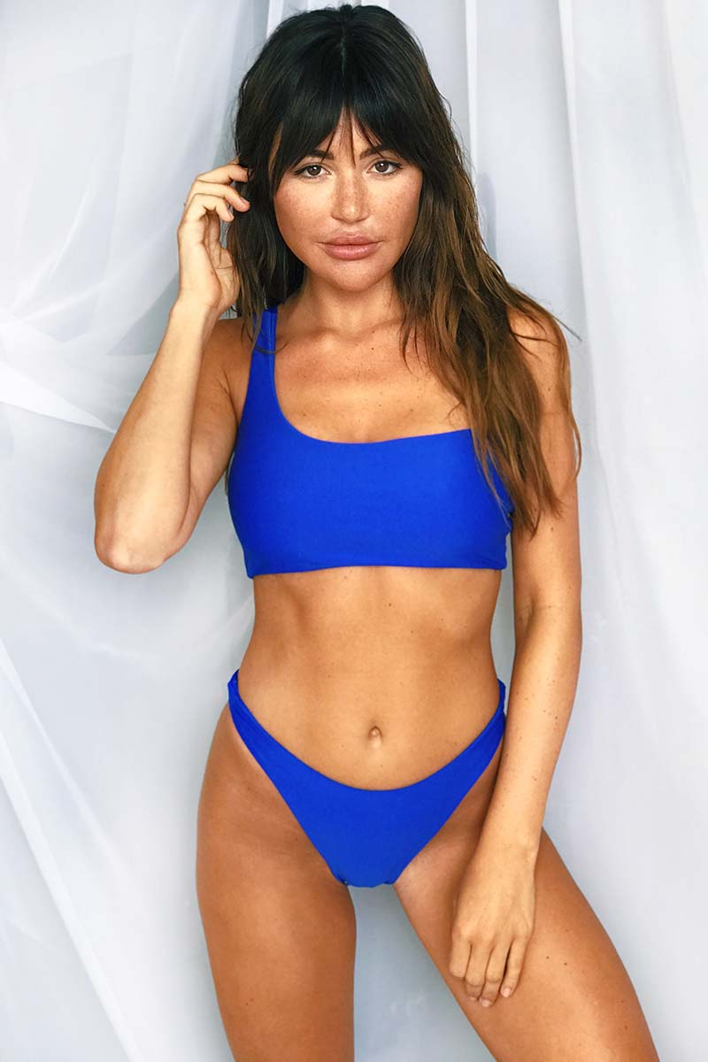 LEE + LANI 2019 One Shoulder Bikini Top - Cobalt Blue Bikini Top | Cobalt Blue|Lee + Lani One Shoulder Bikini Top