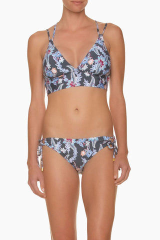 HELEN JON Retreat Criss Cross Back Bikini Top - Rhapsody Print Bikini Top | Rhapsody Print| Helen Jon Retreat Criss Cross Back Bikini Top - Rhapsody Print V Neckline Double Shoulder Straps Criss Cross Back Straps Thick Bra Underband  Removable Soft Cups 80% polyester / 20% spandex Front View