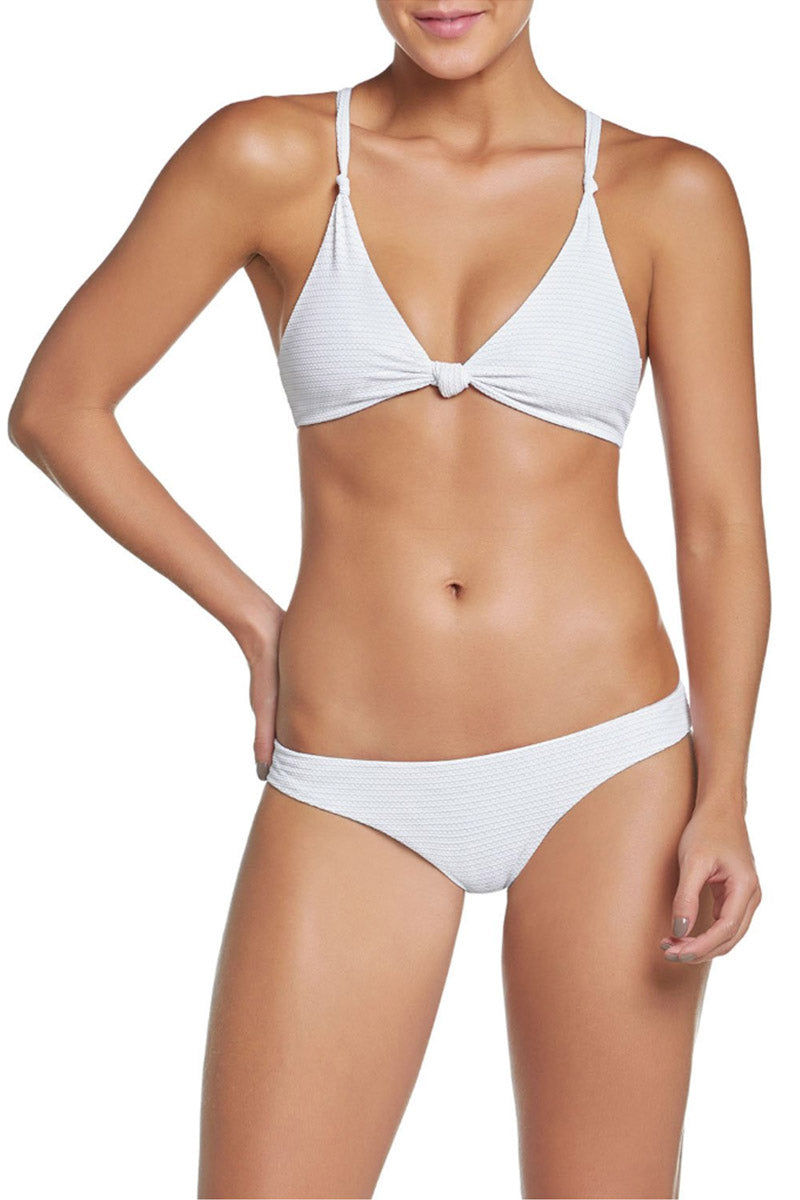 PILYQ Basic Ruched Teeny Bikini Bottom - Monroe White Bikini Bottom | Monroe White| Pilyq Basic Ruched Teeny Bikini Bottom - Monroe White Low-rise hipster style scrunch butt cheeky bikini bottom in white. Easy pull-on style with wide side straps and hipster-style cut  Front View