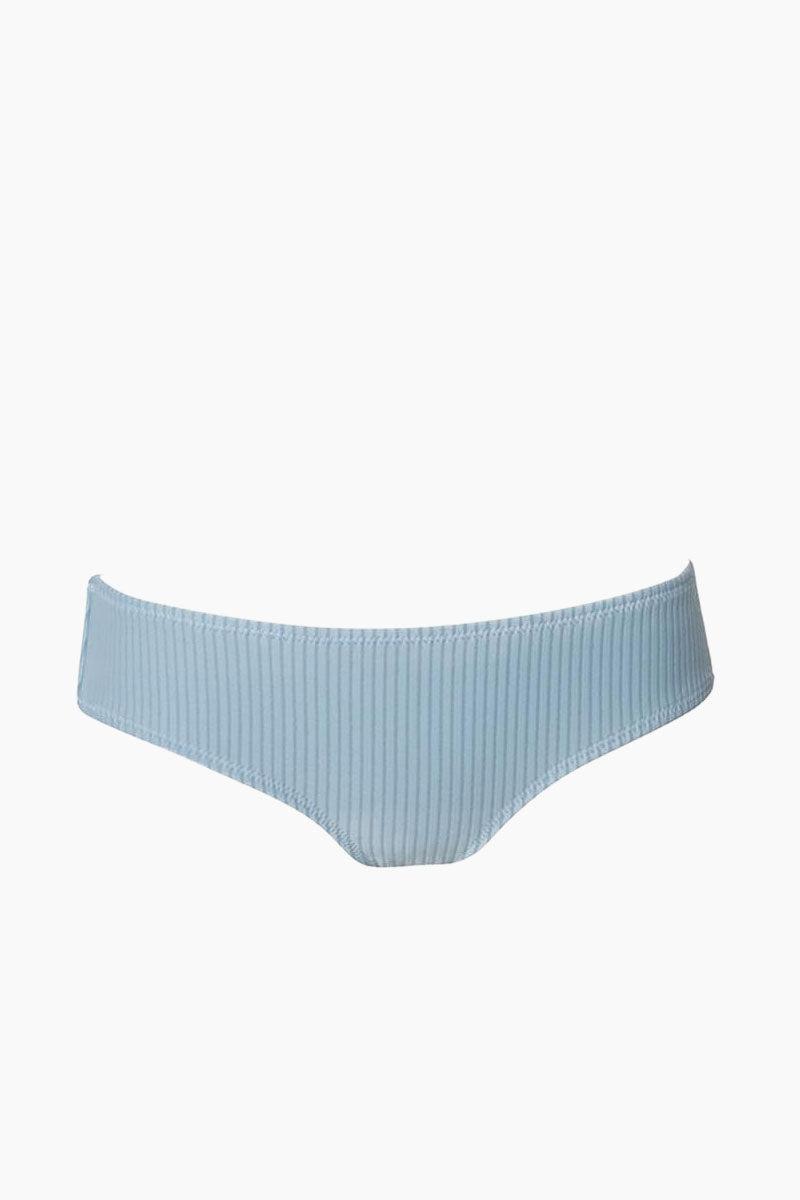 MADE BY DAWN Arrow Full Bikini Bottom - Sky Rib Bikini Bottom   Sky Rib  Made by Dawn Arrow Full Bikini Bottom - Sky Rib. Features:  Full coverage bloomer bottom  Sky rib jacquard fabric. 88% Micro-Nylon, 12% Spandex Made in the USA Front View