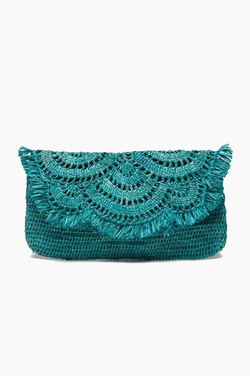 MAR Y SOL Gisele Crocheted Raffia Clutch With Cotton Lining & Snap Closure - Aqua Bag   Aqua  MAR Y SOL Gisele Crocheted Raffia Clutch With Cotton Lining & Snap Closure Front View