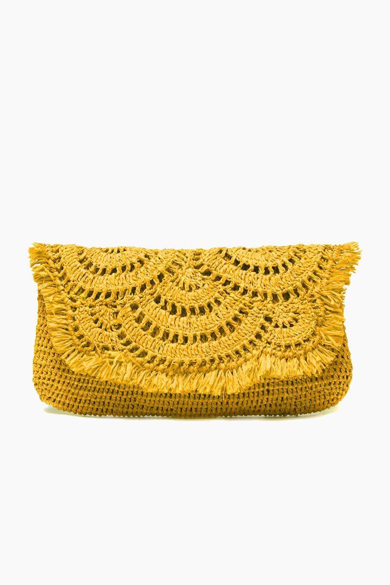 MAR Y SOL Gisele Crocheted Raffia Clutch With Cotton Lining & Snap Closure - Sunflower Bag | Sunflower| MAR Y SOL Gisele Crocheted Raffia Clutch With Cotton Lining & Snap Closure Front View